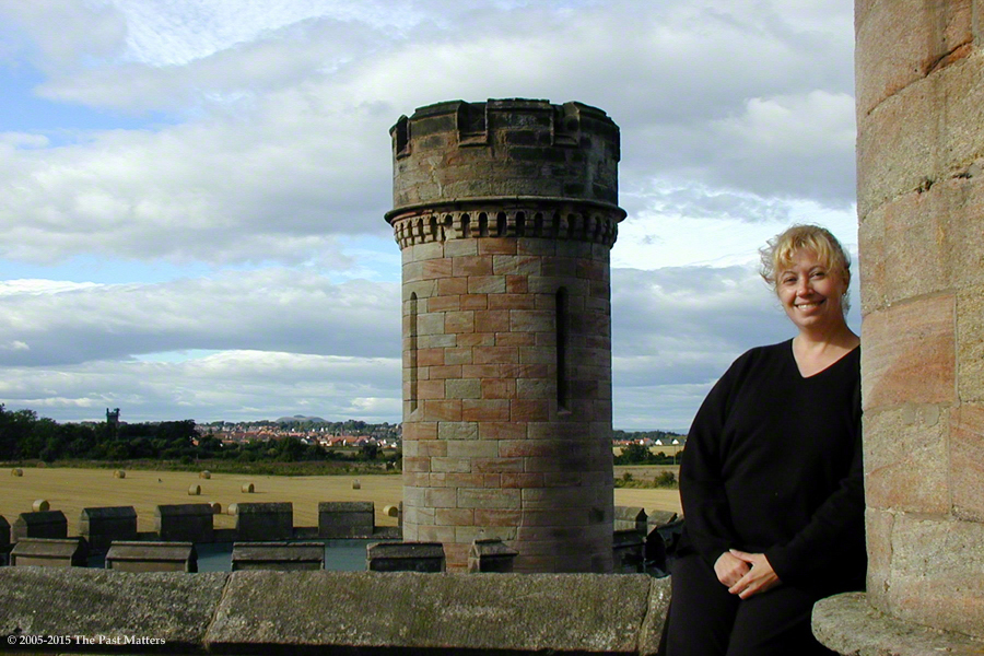 Karen Wallace Steely on the roof of Dalhousie Castle outside Bonnyrigg, Scotland.