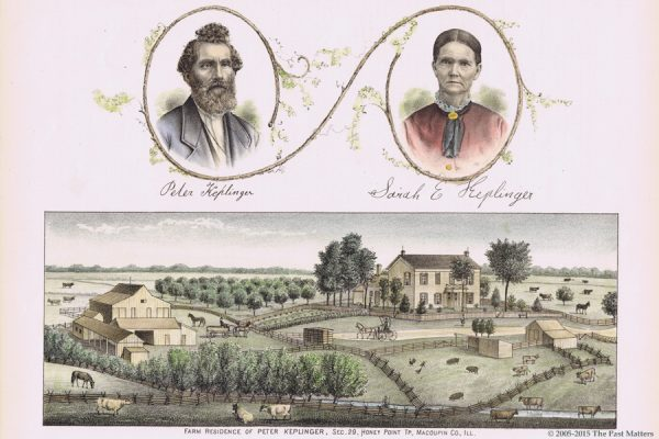 1876 wood engraving of Peter and Sarah Ellen (Harris) Keplinger and their farm.