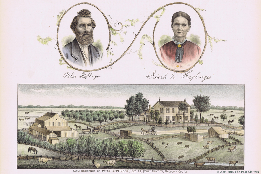 Peter and Sarah E. Keplinger farm in 1876, Macoupin County, Illinois