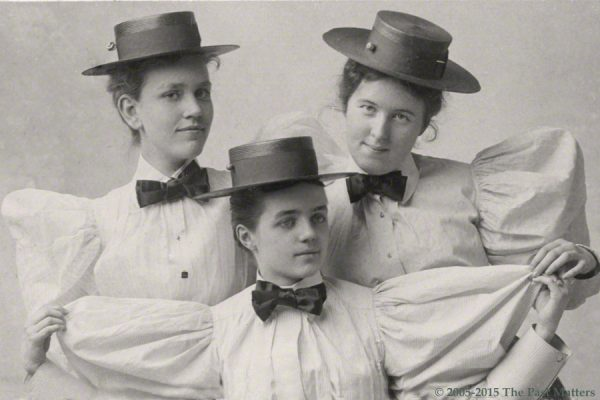 Bessie Bailey, Elsie Gould, and Louise Hoge, students at the Mount Vernon Seminary in May 1895. Taken by Stalee Photography Studio in Washington, D.C.