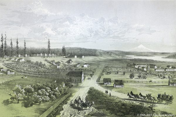 Fort Vancouver, Washington Territory, about 1853. Lithograph from the U.S.P.R.R. Explorations & Surveys presented to Congress between 1855 and 1861.
