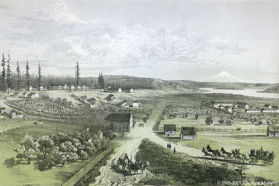 Fort Vancouver, Washington Territory, about 1850. Lithograph from the U.S.P.R.R. Explorations & Surveys presented to Congress between 1855 and 1861.