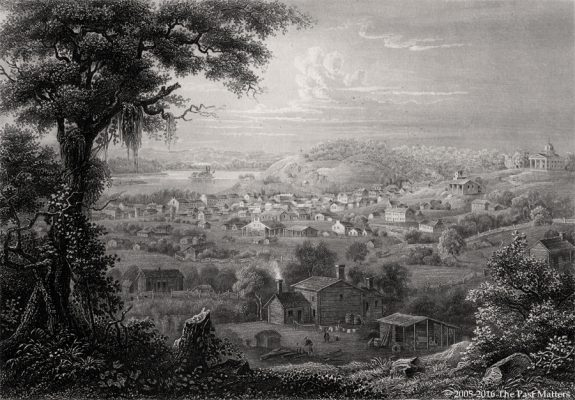 "Saint Joseph, Missouri, depicted about 1853 in a steel engraving from ""Meyer's Universum"""