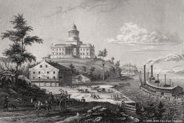 """Missouri State Capitol Building in Jefferson City depicted in an 1836 steel engraving from """"Meyer's Universum"""""""