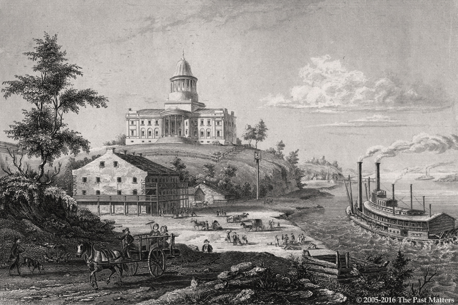 Missouri State Capitol Building in Jefferson City, 1836. Steel engraving from