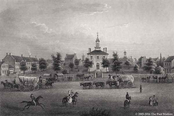 "Jackson County (Missouri) Courthouse in Independence, depicted in an 1838 steel engraving from ""Meyer's Universum"""