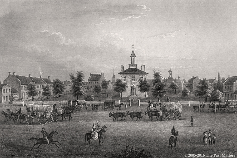 Jackson County (Missouri) Courthouse in Independence, 1838. Steel engraving from