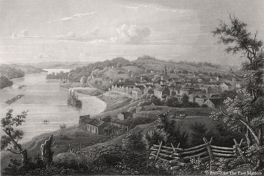 Weston, Platte County, Missouri about 1845. Steel engraving from