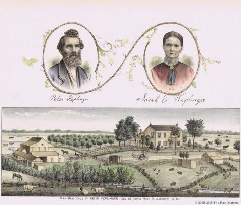 1876 wood engraving of Peter and Sarah Ellen (Harris) Keplinger and their farm in Macoupin County, Illinois.