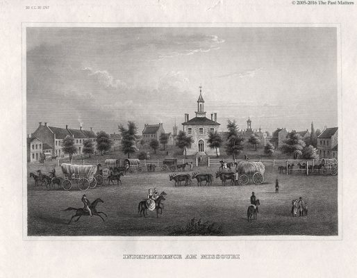 """Jackson County (Missouri) Courthouse in Independence, depicted in an 1838 steel engraving from """"Meyer's Universum"""""""