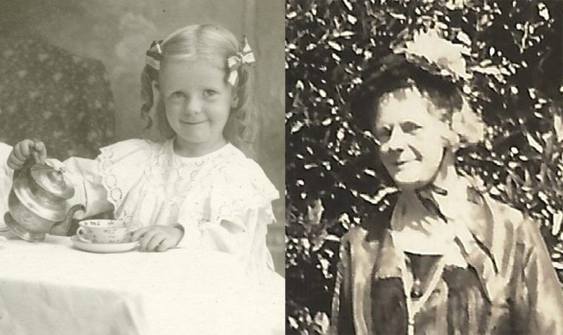 Two photos of Dana Margaret Williams, about 1901 and about 1950