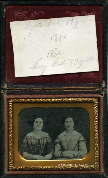 Sisters Mary and Lydia Leet in 1856. Probably taken in Madison County, New York.