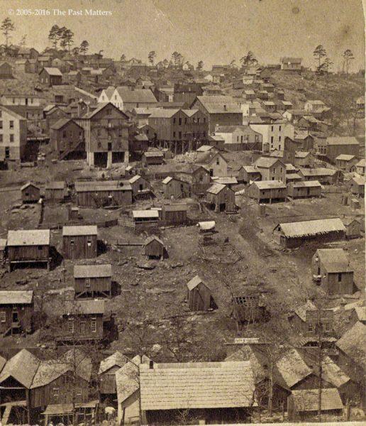 A view of Eureka Springs, Arkansas from east mountain, taken by F. F. Fyler circa 1875