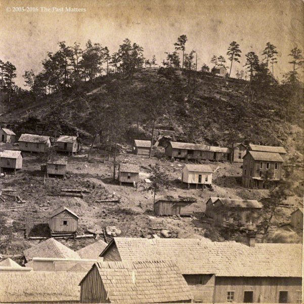 A view of Eureka Springs, Arkansas from west mountain, taken by F. F. Fyler circa 1875.
