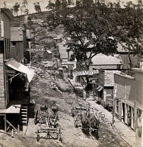 A view of Main Street in Eureka Springs, Arkansas, no. 14, taken by F. F. Fyler circa 1875.