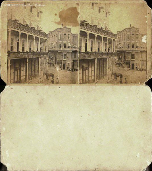 A city view in Eureka Springs, Arkansas circa 1875