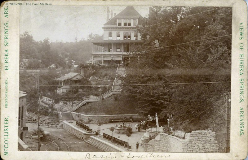 The Southern Hotel and Basin Spring in Eureka Springs, Arkansas, circa 1885
