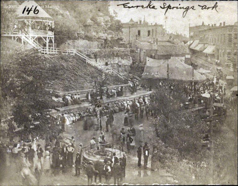 Looking down on Basin Park and Main Street in Eureka Springs, Arkansas circa 1900.