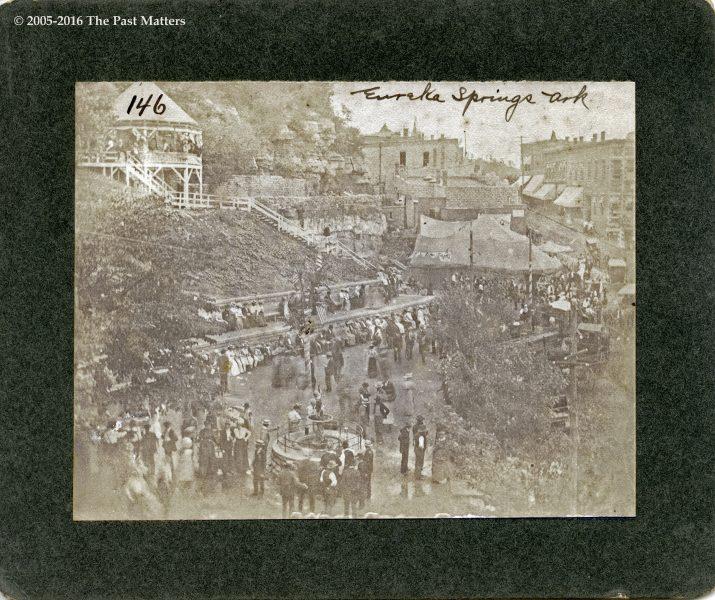 Basin Park and Main Street in Eureka Springs, Arkansas circa 1900